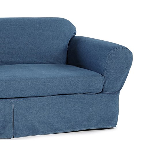 Slipcover, Heavyweight Durable Blue Washed Denim 2-Piece Loveseat Slipcover by Classic Slipcovers