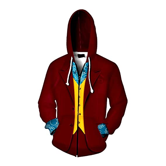 Aosida Joker Shirt Hoodie Red Clown Outfit 2019 The Joker Cosplay ...