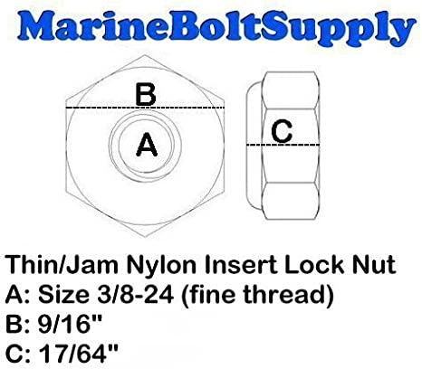 316 Stainless Steel Nylon insert Jam Thin Lock Nut UNF 3//8-24 Qty 25