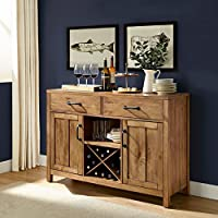 2 Cabinet Storage Buffet, Bottle Rack, Durable Construction, Multifunctional, Two Drawers And Open Shelf, Extra Storage Space, Perfect For Dining Room, Kitchen, Wine Rack, Natural Color + Expert Guide