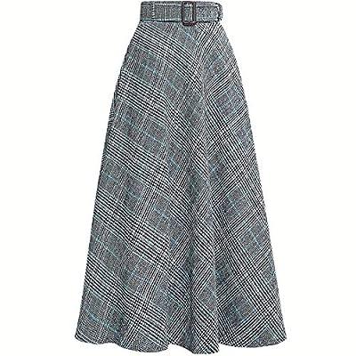Women Retro Plaid High Wasit Woolen Winter High Waist Long Skirts