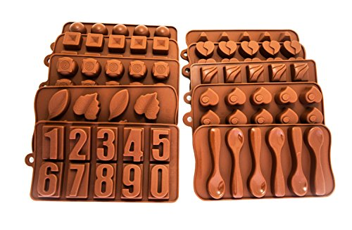 Mold Spoon (Unique 10 Pack Silicone Candy Molds - Candy Heart molds, Candy Spoon mold, Silicone molds with Numbers, molds for Candle making kits - 100% Food Safe - Variety Fondant molds, Silicone Baking molds)