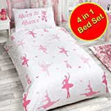 Price Right Home Born to Dance Ballerina 4 in 1 Junior/Toddler Bedding Bundle Set (Duvet, Pillow and Covers)