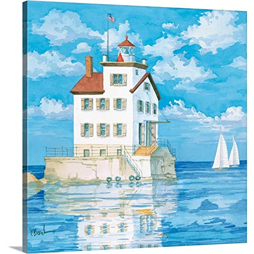 "Lorain Lighthouse Canvas Wall Art Print, 30""x30""x1.25"""