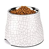 Flexzion Stainless Steel Elevated Dog Bowl Feeder up to 24 Oz – Raised Cat Pet Dish with Removable Food Water Holder Anti-tip Rubber Slip Bottom for Geriatric Older Small Medium Breeds Puppy (Cracks)