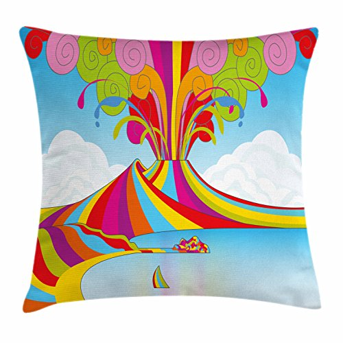 Volcano Throw Pillow Cushion Cover by Lunarable, Skyline of Naples and Vesuvio in Rainbow Eruption Themed Artistic Illustration, Decorative Square Accent Pillow Case, 26 X 26 Inches, - Shops In Naples