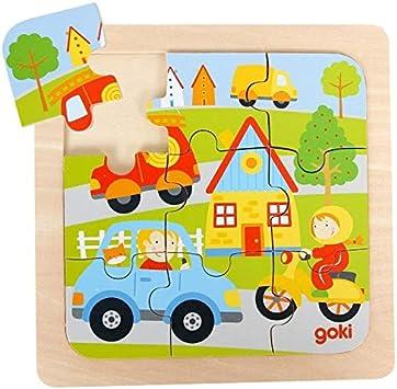 Goki Juego de Mesa Puzzle Madera 9 Piezas Grandes Modelo VEHÍCULOS Primera Infancia Niños +2 años: Amazon.es: Juguetes y juegos