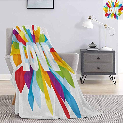 Pride Commercial Grade Printed Blanket Love Valentines Theme Burst with Cute Little Colorful Hearts Word LGBT Gay Lesbian Queen King W70 x L84 Inch Multicolor