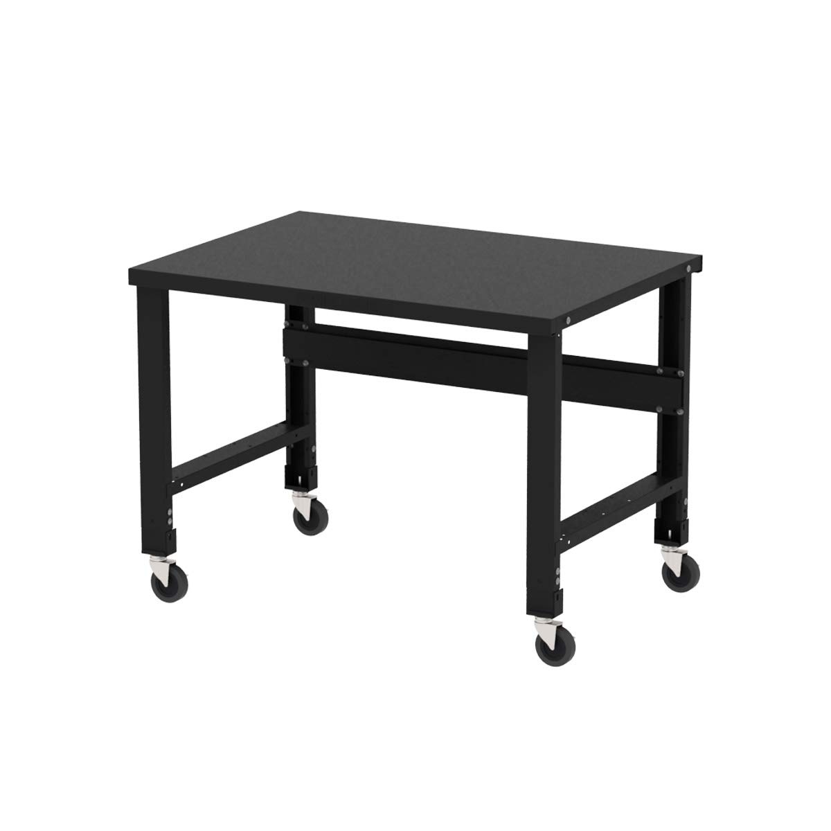 Borroughs Adjustable Height Black Painted Steel Top Workbench with Caster Kit, 34 inches x 48 inches by Borroughs