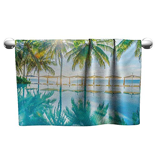 Custom Towel Landscape,Pool by The Beach with Seasonal Eden Hot Sunny Humid Coastal Bay Photography,Green Blue,Hooded Beach Towel for Girls