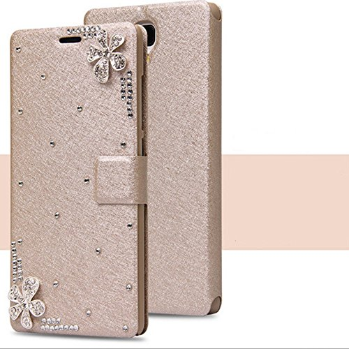 Price comparison product image iPhone 6 Plus / 6s Plus 5.5 Case, Auroralove Luxury Crystal Rhinestone Bling Diamond Lucky Flowers Soft Silk Leather Style Wallet Cover for iPhone 6 Plus / 6s Plus-Gold