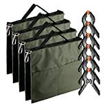 Neewer 4-Pack Photographic Water Bag Weight Bag (Army Green) for Light Stands, Tripods, Boom Arm and 6-pack 4.3 inches Muslin Spring Clamps/Clips for Photo Studio Backdrops Backgrounds