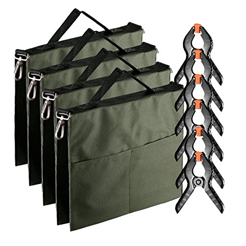 Neewer 4-Pack Photographic Water Bag Weight Bag (Army Green) for Light Stands, Tripods, Boom Arm and 6-pack 4.3 inches Muslin Spring Clamps/Clips for Photo Studio Backdrops Backgrounds by Neewer