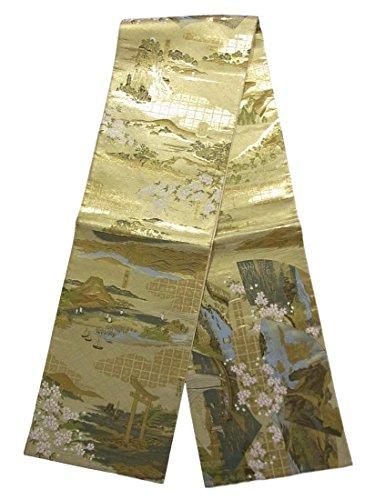 アーティファクト決めます相互リサイクル 袋帯 桜に津々浦々の風景文 正絹