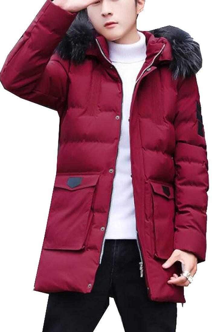 Fensajomon Mens Winter Faux Fur Hoodies Warm Longline Down Quilted Coat Jacket Outwear