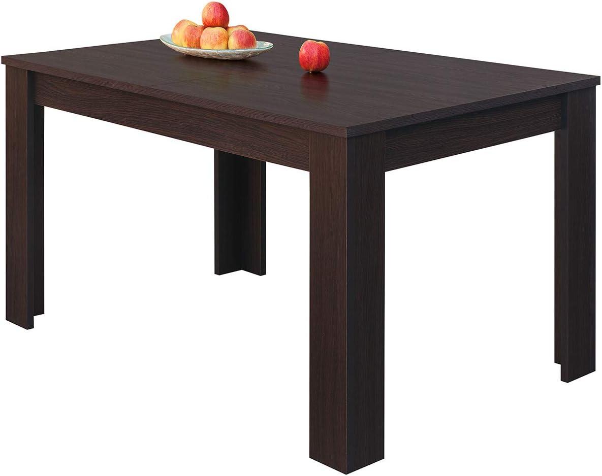 COMIFORT Mesa de Comedor- Mueble Extensible, de Estilo Moderno, Muy Resistente, con Medidas de 140/190 x 90 x 78 cm, Fabricado en Europa, Color Wengue