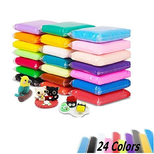 Aitsite 24 Colors Air Dry Modeling Clay Kit, Fluffy Slime Clay DIY Super Light Model Magic Clay for Kids Boys Girls (24 Pcs)
