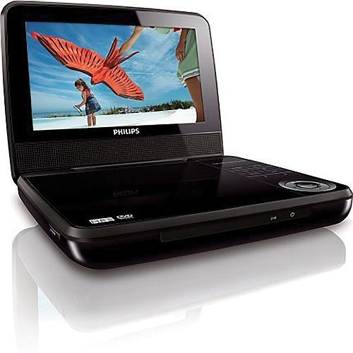 Philips 7″ PAL/NTSC Region Free Code Free Zone Free Portable DVD Player, Play Any Region DVD, Dual Voltage 110-220 Volts (Free LiteFuze 220 Volts Plug)