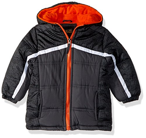 iXtreme Baby Boys Infant Tonal Print Colorblock Puffer, Charcoal, 12M