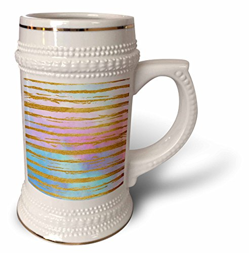 ugh - Patterns - Modern Faux Gold Hand Painted Stripes On Pink and Blue Watercolor - 22oz Stein Mug (stn_283345_1) ()