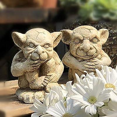 zenggp Set De 2 Pixies Defiende El Jardín Adornos Figuras Elfo Hada Figuras Estatuas: Amazon.es: Hogar