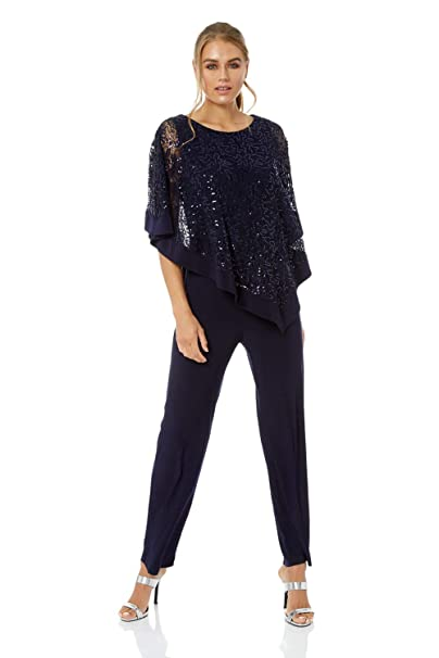 6eb47ddc0b4 Roman Originals Women Sequin Overlay Jumpsuit at Amazon Women s Clothing  store