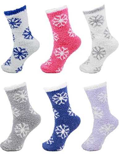 Assorted Super Soft Warm Microfiber Fuzzy Snowflake Socks - Assortment A - 6 Pairs Value Pack