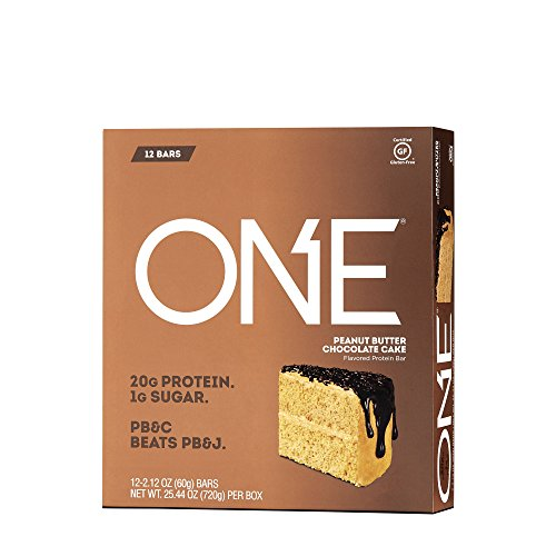 ONE Protein Bar, Peanut Butter Chocolate Cake, 20g Protein, 1g Sugar, 12-Pack (packaging may vary)