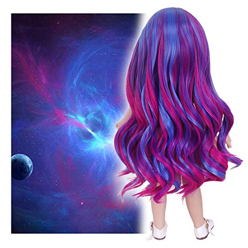 STfantasy Doll Wig for 18 Inches American Girl Doll AG OG Journey Girls Gotz My Life Ombre Purple Curly Synthetic Hair Lolita Girls Gift]()