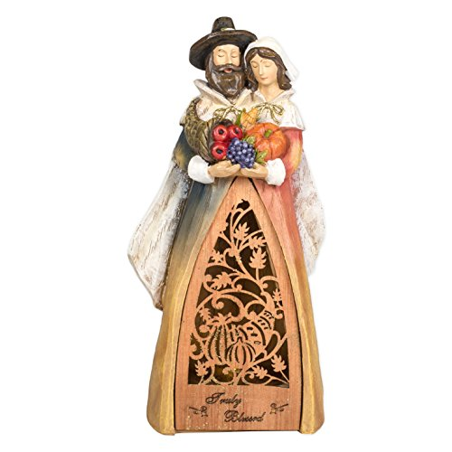Truly Blessed Pilgrim Harvest Light Up LED 9.5 Inch Laser Cut Wood Resin Tabletop Figurine