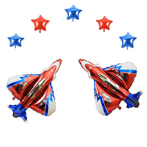 (Combination 36 Inch Jet Fighter Foil and 10 Inch Stars Air-Filled Balloons for Aviation Theme Party Wedding Baby Shower Window Dressing Birthday Anniversary Decoration (Jet)
