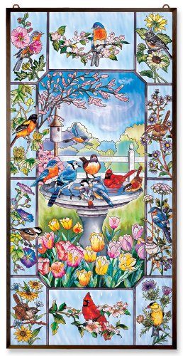 Amia 9994 For The Birds Window Decor Panel Featuring Songbirds and Birdbath, Hand-painted, Tempered Glass, Polished Aluminum Frame, 20-Inch W by 40-Inch L