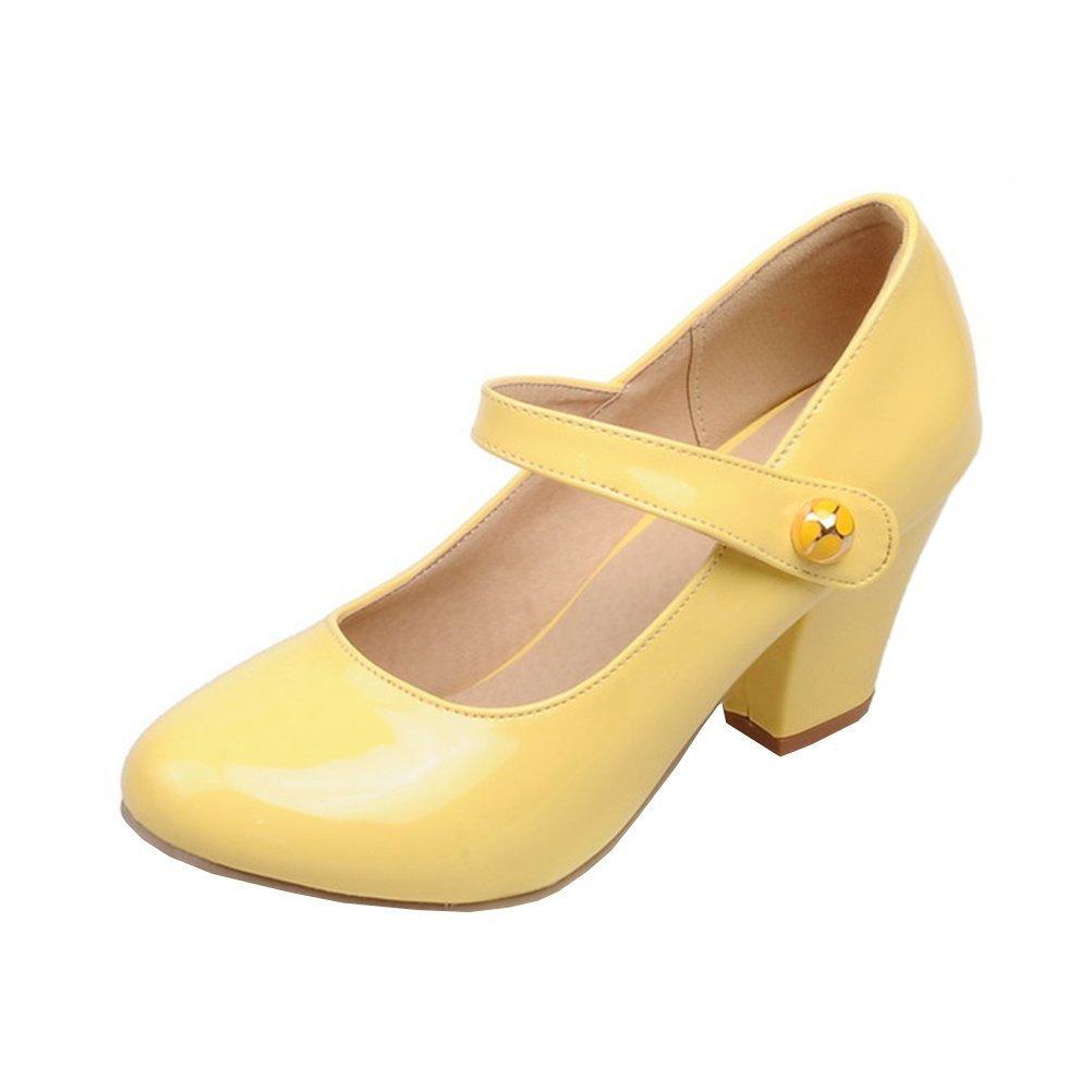 YE Damen Ankle Strap Lack Pumps Blockabsatz High Heels mit Riemchen Elegant Schuhe  41 EU|Gelb