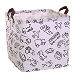LANGYASHAN Square Storage Bins Waterproof Canvas Kids Laundry/Nursery Boxes for Shelves/Gift Baskets/Toy Organizer/Baby Room Decor(Vehicle)