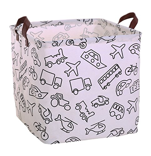 FUNNYGO Canvas Storage Bins Toy Box Square Collapsible Waterproof Nursery Hamper for Laundry,toy organizer, kids hamper,baby room decor (Truck Storage Bins)