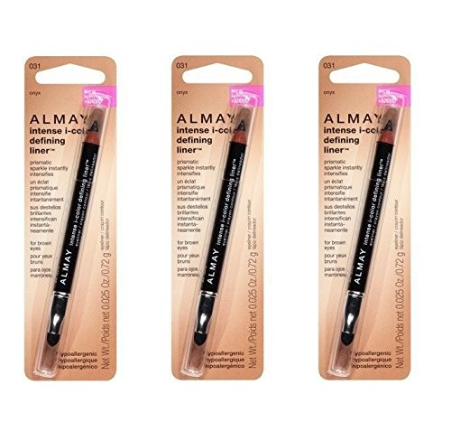 Almay Intense I-Color Defining Liner, 031 Onyx (Pack of 3) + FREE Scunci Black Roller Pins, 18 Pcs (Onyx Eyes Pin)