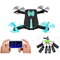 JY018 Foldable RC Quadcopter Drone WIFI FPV 2MP Camera Altitude Hold Headless Mode A Key Return Mini Helicopter(Extra 6 Battery and USB Charger)