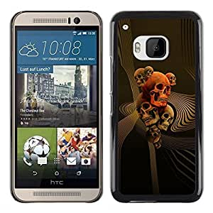 A-type Colorful Printed Hard Protective Back Case Cover Shell Skin for HTC One M9 ( Skull Gold Red Death Abstract Vortex )