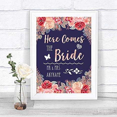 Amazon.com: Azul marino Blush oro rosa aquí viene novia ...