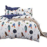 CLOTHKNOW Kids Boys Queeen Duvet Cover Sets Full Sky Rocket Bedding Sets Queen White and Purple 100 Cotton Planet Spaceship Star Teens Duvet Cover with Zipper Closure 2 Pillow Shams NO Comforter