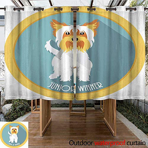 Home Patio Outdoor Curtain Dog Junior Winner Medal icon Flat Design W55 x L72