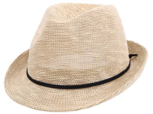 Simplicity Foldable Fedora Hat Men & Women's Short Brim Roll up Sun Hat,Natural -