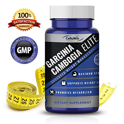 Garcinia Cambogia Elite By Celluwin  100  Pure Garcinia Cambogia Extract  Fat Burner For Women And Men  Extra Strength With Hca  Natural Appetite Suppressant  60 Weight Loss Pills