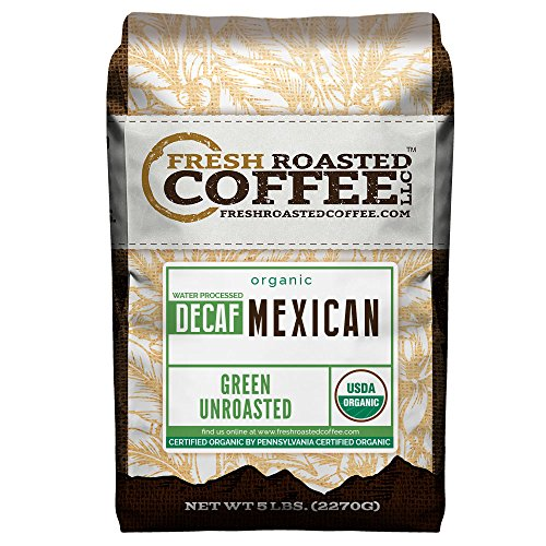 Coffee Mexican Decaffeinated - Fresh Roasted Coffee LLC, Green Unroasted Mexican Decaffeinated Coffee Beans, USDA Organic, Swiss Water Process, 5 Pound Bag