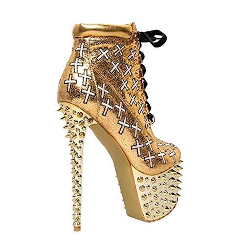 de del GOLD otoño de Botas Zapatos trabajo impermeable oro 37 Plataforma remache altos de 8020FD invierno Tacones alta Botas Zip Tirantes Botas Cuero cruzados gold de mujer 36 para yv1qwp1z