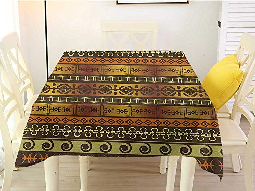 L'sWOW Square Tablecloth Extra Large Zambia Ethnic Ornamental Abstract Heritage Traditional Ceremony Ritual Image Gold Dark Brown Orange Resistant 54 x 54 Inch
