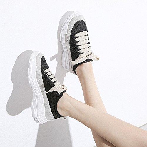QQWWEERRTT Malla de Moda Transpirable de Fondo Grueso Zapatos Blancos Femeninos de Verano nuevos Zapatos Casuales de Deporte Femenino negro