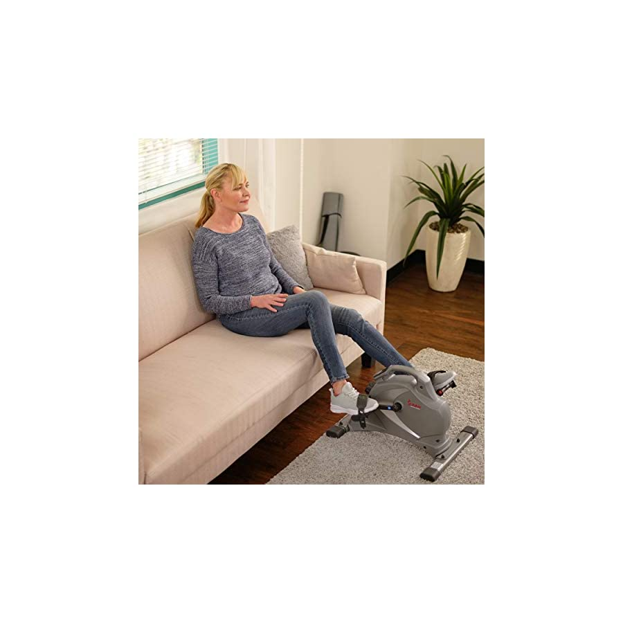 Sunny Health & Fitness Magnetic Mini Exercise Bike with Digital Monitor, Low Profile Design and 8 Level Resistance