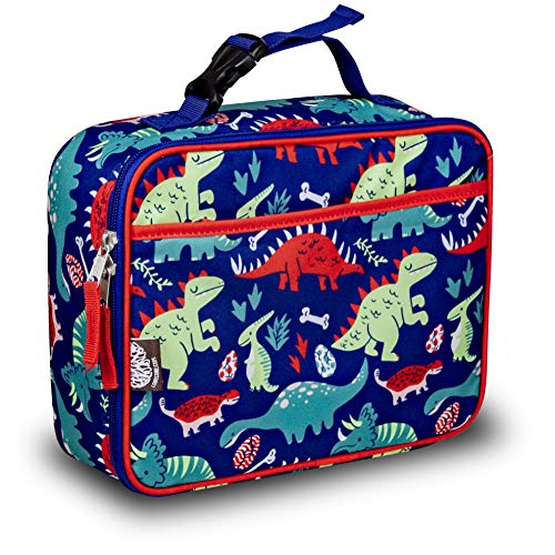 Bento Box Case - LONECONE Kids' Insulated Fabric Lunchbox - Cute Patterns for Boys and Girls, Snack-O-Saurus, X-Large with Buckle