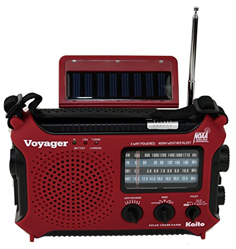 Kaito KA500RED 5-Way Powered Emergency AM/FM/SW Weather Alert Radio, Red